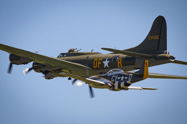 B-17 and P-51 Acrylic by J Biggadike