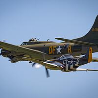 Buy canvas prints of B-17 and P-51 by J Biggadike