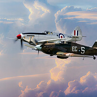 Buy canvas prints of Spitfire and Hurricane by J Biggadike