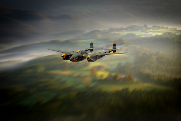 P38 Lightning Run In Framed Mounted Print by J Biggadike