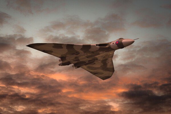 Vulcan Bomber Sunset Canvas Print by J Biggadike