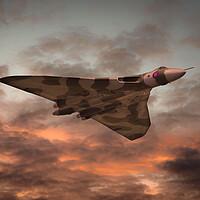 Buy canvas prints of Vulcan Bomber Sunset by J Biggadike