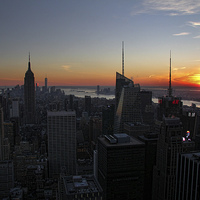 Buy canvas prints of Manhattan Sunset by Matthew Bates