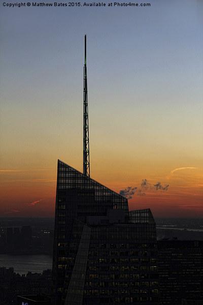 Manhattan rooftops Framed Mounted Print by Matthew Bates