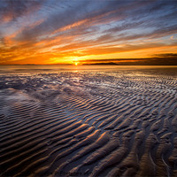 Buy canvas prints of Allonby sunset by R K Photography