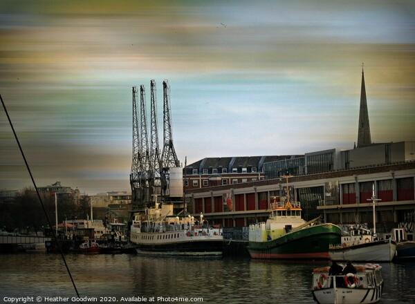 Bristol Docks Print by Heather Goodwin