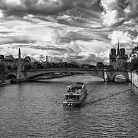 Buy canvas prints of River Boat on the River Seine by Lynn Bolt