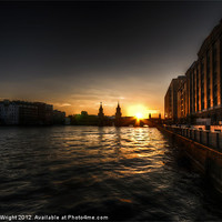 Buy canvas prints of Old docks sunset. by Nathan Wright