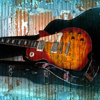 Buy canvas prints of A Grungy Guitar by Jacqui Kilcoyne