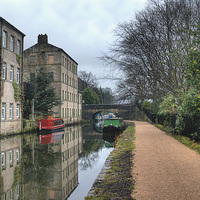 Buy canvas prints of  Rochdale Canal at Hebden Bridge by Irene Burdell
