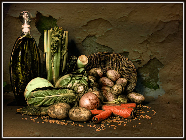 Still life with vegetables. Framed Print by Irene Burdell