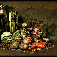 Buy canvas prints of Still life with vegetables. by Irene Burdell