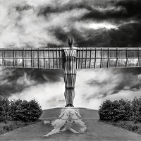 Buy canvas prints of Angel in Black & White by Kevin Tate