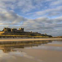Buy canvas prints of Bamburgh Castle Reflection by Kevin Tate