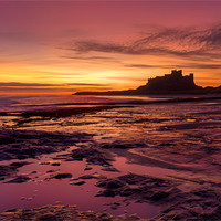 Buy canvas prints of Sunrise on Bamburgh Beach by Kevin Tate