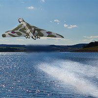 Buy canvas prints of Vulcan Bomber over Derwent Reservoir by Kevin Tate