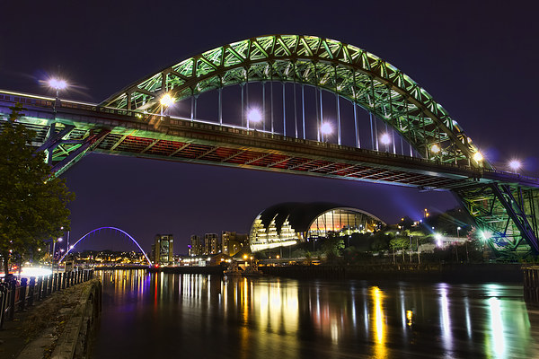 Newcastle Tyne Bridge at night Canvas print by Kevin Tate