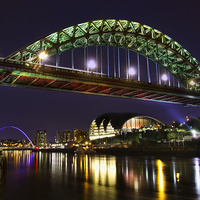 Buy canvas prints of Newcastle Tyne Bridge at night by Kevin Tate