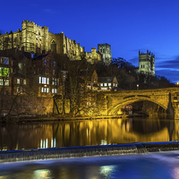 Buy canvas prints of Durham Castle at night by Kevin Tate