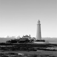 Buy canvas prints of St Mary`s Lighthouse b&w. by Northeast Images Daniel Dent