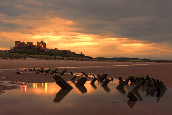 Bamburgh Wreck Canvas print by Northeast Images Daniel Dent