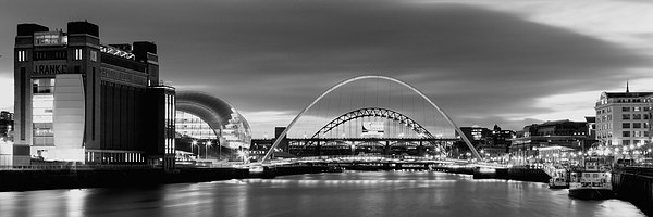Newcastle Quayside Panoramic Canvas Print by Northeast Imag Dent