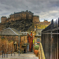 Buy canvas prints of The Castle from the Vennel Steps by Tom Gomez