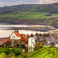 Buy canvas prints of First view of Robin Hoods Bay by Tom Gomez