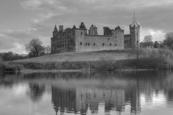 Palace and Church by the Loch - B&W Canvas print by Tom Gomez