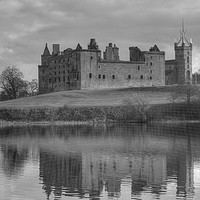 Buy canvas prints of Palace and Church by the Loch - B&W by Tom Gomez