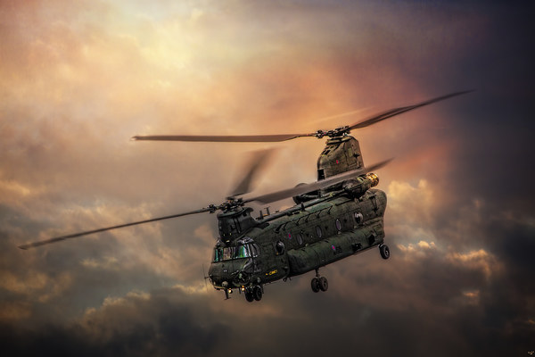 Boeing CH-47 Chinook Canvas print by Chris Lord's Pixielated Pixels