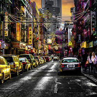 Buy canvas prints of Chinatown Sunset by Chris Lord's Pixielated Pixels