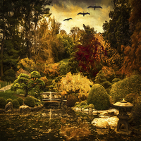 Buy canvas prints of  Fantasy Asian Landscape by Chris Lord's Pixielated Pix