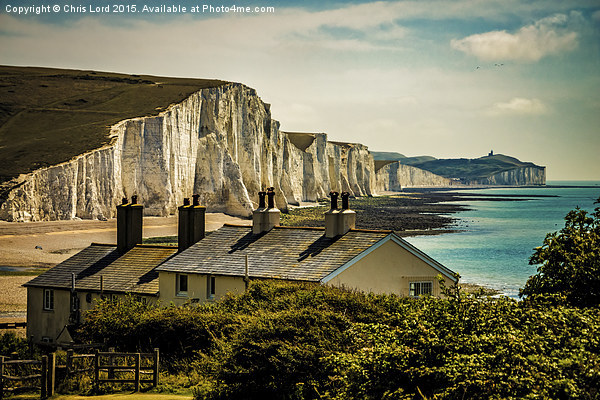 The Seven Sisters  and the Coast Guard Cottages Canvas print by Chris Lord