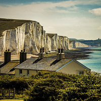 Buy canvas prints of The Seven Sisters  and the Coast Guard Cottages by Chris Lord