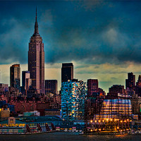 Buy canvas prints of Midtown Manhattan Sun Down by Chris Lord's Pixielated Pixels