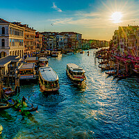 Buy canvas prints of Vaporettos On The Grand Canal by Chris Lord