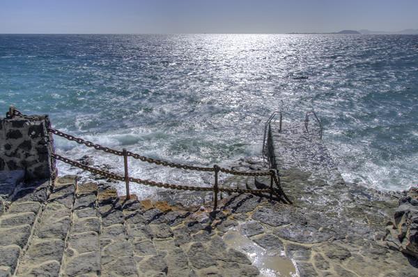 Playa Blanca Steps Lanzarote Canvas print by Gerry Greer