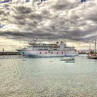 Buy canvas prints of Playa Blanca Harbour Lanzarote by Gerry Greer