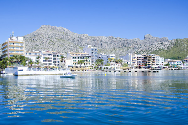 Puerto Pollensa From The Harbour Framed Mounted Print by Gerry Greer