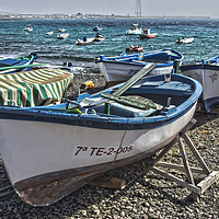 Buy canvas prints of Boats at Playa Blanca Harbour by Gerry Greer