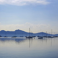 Buy canvas prints of Moody Puerto Pollensa Panorama by Gerry Greer