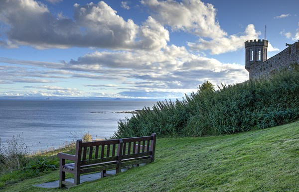 Crail Castle Walk Bench Canvas print by Gerry Greer