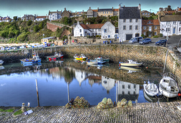 Artist Painting Crail Harbour Fife. Framed Mounted Print by Gerry Greer