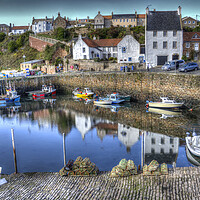 Buy canvas prints of Artist Painting Crail Harbour Fife. by Gerry Greer