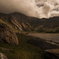 Buy canvas prints of Llyn Idwal and the Devils Kitchen by Eddie John