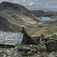 Buy canvas prints of  Old Quarry hut - Buttermere  by Eddie John