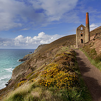 Buy canvas prints of Wheal Coates mining engine house  St Agnes Cornwal by Eddie John