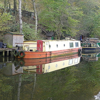 Buy canvas prints of Rochdale Canal at Hebden Bridge. by Lilian Marshall