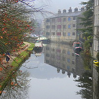 Buy canvas prints of Misty Hebden bridge.  by Lilian Marshall